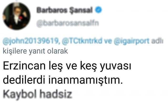 Modacı Barbaros Sanşal'a, Erzincan'a Hakaretten Ceza