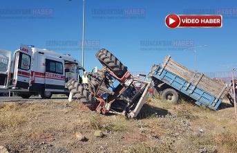 Tarım işçilerini taşıyan traktör ile tır çarpıştı:2 ölü, 6 yaralı